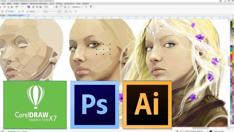 Adobe Photoshop, Adobe Illustrator иCorel Draw